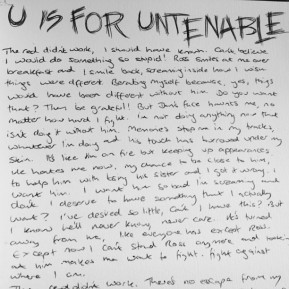 Alphabet Challenge: U is For Untenable